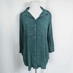 Merona Green Button Down Knit Top size M